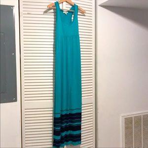 Kenar Teal and Black Tank Maxi Dress